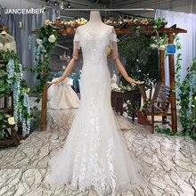 Htl334 sereia vestido de casamento com trem destacável borla manga curta o pescoço marfim nupcial vestidos novia corte sirena