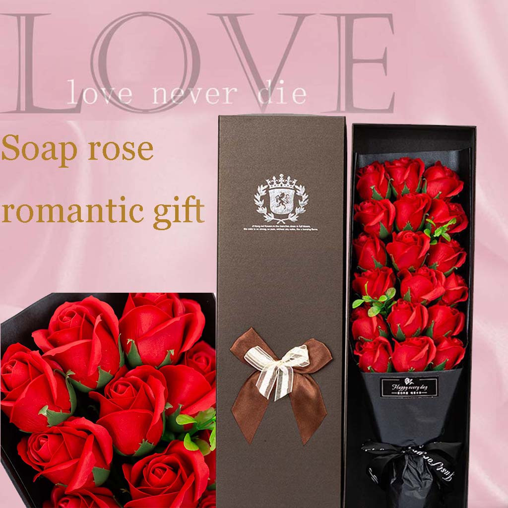 Rose Soap Valentine's Day Gift 18 Rose Soap Flower Romantic Soap Bouquet Rose Gift Box Wedding Decoration Gift Festival Box #40