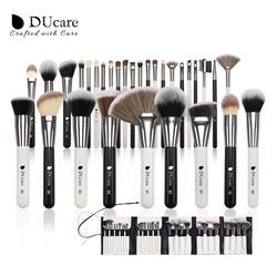 DUcare 31 Uds brochas de maquillaje con bolsa negro/blanco Natural pelo de cabra brocha base polvo corrector contorno ojos brocha de mezcla