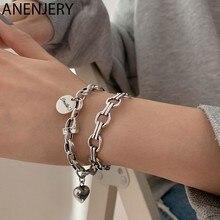 ANENJERY – Bracelet en argent Sterling 925 pour homme et femme, bijou à manchette ouverte géométrique avec lettres de cœur, idéal pour cadeau