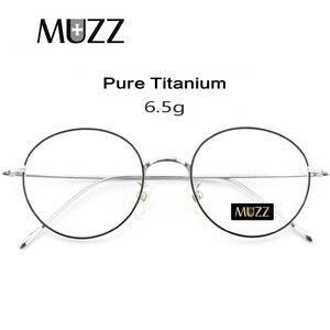 Image 1 - Saf titanyum gözlük çerçeve erkekler Vintage yuvarlak miyopi optik reçete gözlük çerçeveleri yeni kadın kadın Retro Oval gözlük