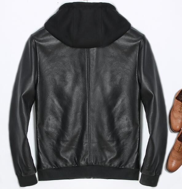 Genuine Leather Jacket Hoodie Motorcycle Real Sheepskin For Men Vintage Winter Spring Hooded Casual Black Slim Fit Coats Top