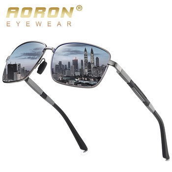 AORON New Men's Metal Polarized Sunglasses Driver Driving Sun Glasses Classic Fashion Square Sunglasses UV400 aoron photochromic polarized mens sunglasses classic rectangle sun glasses uv400 aluminum magnesium leg sunglasses