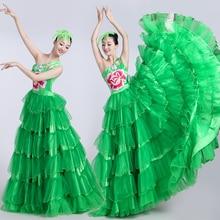 2020 New Adult Female Modern Chorus Performance Dress Opening Dance Long Robe Big Swing Skirt Spanish Bullfight Dresses DL6129