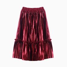 New 2-14T Children Kids Girls Velvet Fluffy Pettiskirt Solid Ruffle Long Tutu Skirts Autumn Winter Princess Pleated Dance Skirt
