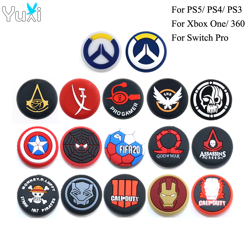YuXi 2pcs Analog Thumb Grip Caps For Playstation 4 5 PS4 Pro Slim PS5 for Switch Pro Controller  Joystick Cover for Xbox One 360
