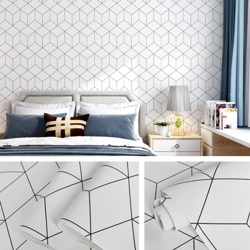 Modern Simple Geometric Wallpaper Sticker 3d Diy Self Adhesive Bedroom Wall Decals Cube Wallpapers Furniture Room Behang QZ175