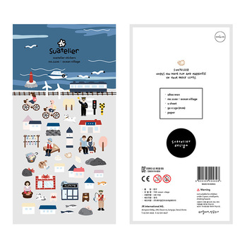 Seaside Town Holiday Girl Cycling Suatelier Stickers Diary Sticker Scrapbook Decoration PVC Stationery - discount item  22% OFF Stationery Sticker