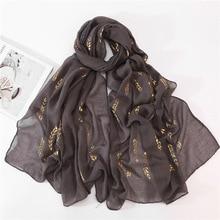 2020 New Muslim Islamic Black White Green Plain Head Wrap Hijab Scarf Shawl Women Gold Leaf Printed Maxi Jersey Hijabs Scarfs