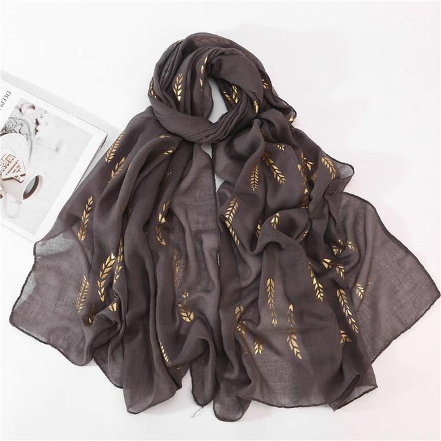 Hiyab musulmán blanco y negro para mujer, pañuelo liso para la cabeza, Hijab, chal, estampado de hojas doradas, Jersey, bufandas, novedad de 2020