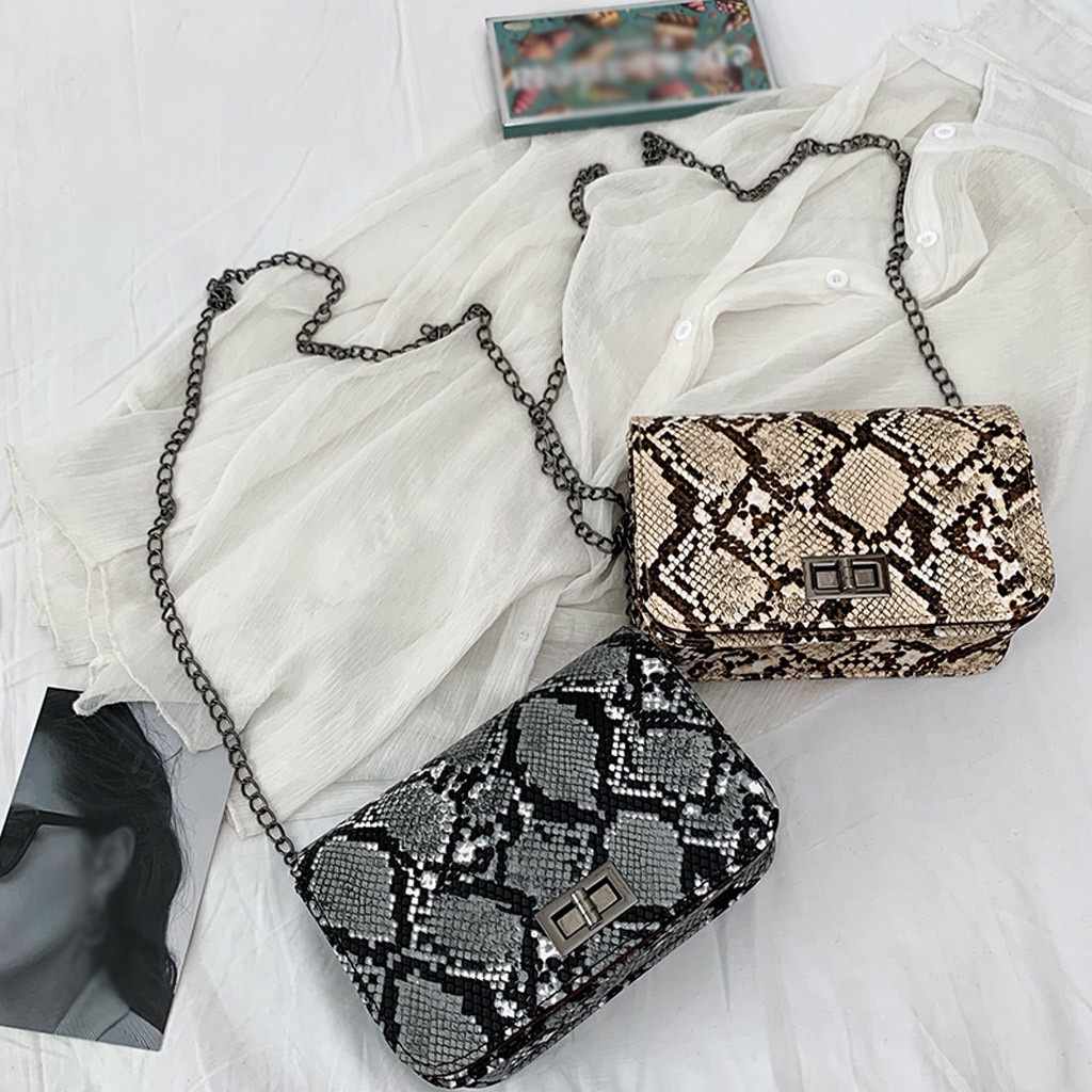 2020 luxury handbags women bags designer Serpentine Small Square Crossbody Bags Wild Girls Snake Print Shoulder Messenger Bag-in Shoulder Bags from Luggage & Bags on AliExpress
