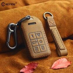 KEYYOU-clé pour Volvo S60 S80 V60 XC70 S60L V40   Couverture en authentique, Fob 6 boutons pour télécommande de voiture, clé intelligente 6 boutons