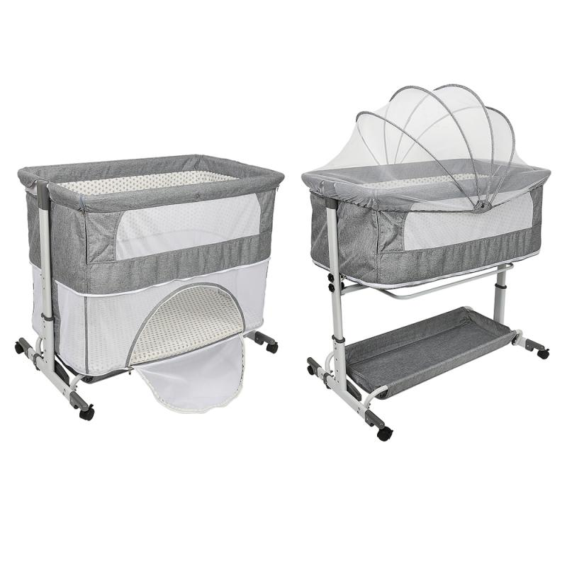 European Style Crib Multifunctional Portable Folding Newborn Baby Bedside Bed Cradle Bed Stitching Play Game Bed Removable HWC
