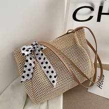 Ladies Summer Casual Straw Woven Handbag Vintage Silk Ribbon Large Capacity Shoulder Underarm Shoulder Bags K5DA
