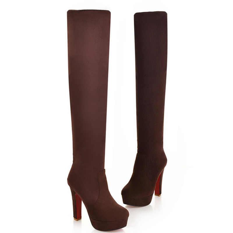 Seksi aşırı diz botları kadın botları 2019 sıcak kadın ayakkabı platformu yüksek topuklu diz yüksek çizmeler kadın kış botu artı boyutu 35-47