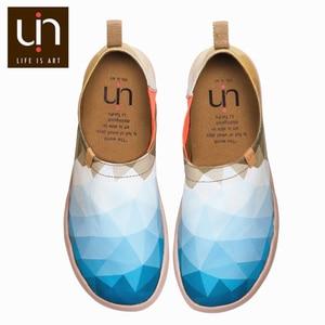 Image 1 - UIN בוקר מקורי עיצוב צבוע בד נעלי גברים אופנה מוקסינים רחב רגליים כחול סניקרס קל משקל נוחות נעליים יומיומיות