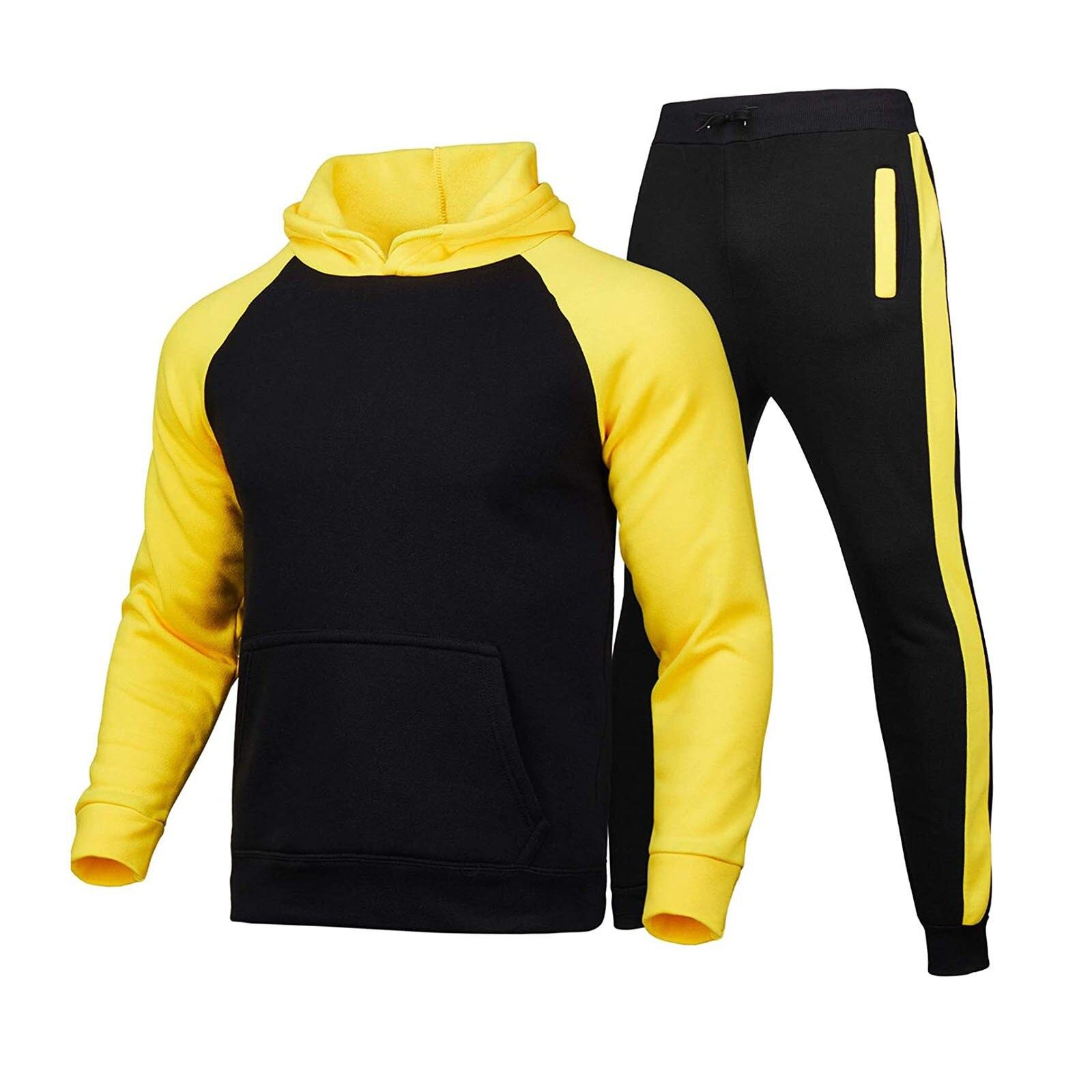 Brand Men Tracksuit 2 Pieces Men s Winter Hooded Casual Zipper Sportswear pants Sweatshirt Warm High