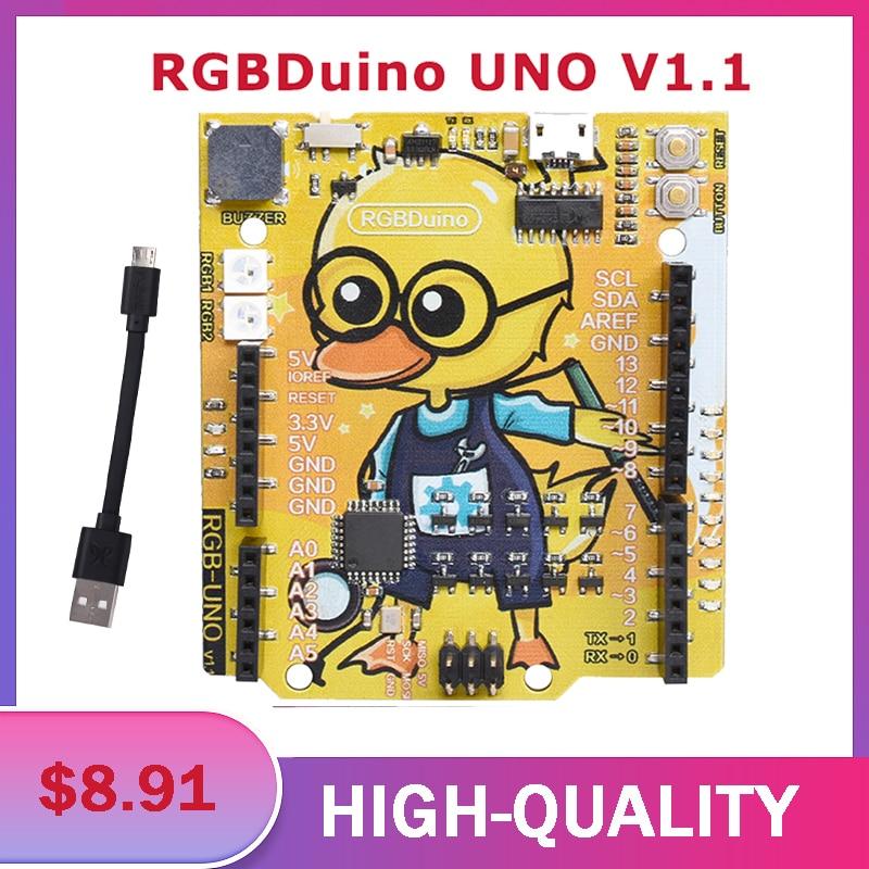 RGBDuino UNO V1.1 Geek Duck High Quality Exploitation Board ATmega328P CH340C Micro USB Vs Arduino UNO For Raspberry Pi 3B/4B