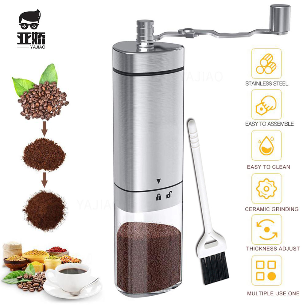 YAJIAO Portable Manual Coffee Grinder Transparent Stainless Steel Hand Crank Coffee Machine For Travel, Camping, Backpacking