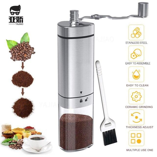 Yajiaoポータブル手動コーヒーグラインダー透明ステンレス鋼ハンドクランクコーヒーマシンのための旅行、キャンプ、バックパッキング、