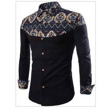 2020 formalne ubranie koszule dla mężczyzn casual dla mężczyzn koszula lato odzież Patchwork nadruk etniczny męskie koszule smokingowe Plus rozmiar 4XL A441 tanie tanio COTTON Poliester Tuxedo koszule Pełna Skręcić w dół kołnierz Pojedyncze piersi REGULAR Suknem Drukuj Shirts Summer Autumn Spring