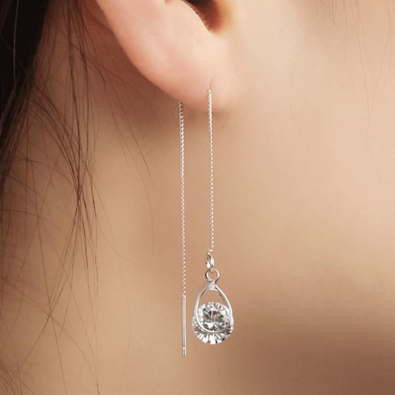 2020 New Fashion Crystal Jewelry Long Drop Rhinestone Tassel Dangle Earrings Oorbellen Brincos Earrings For Women Wedding Earing