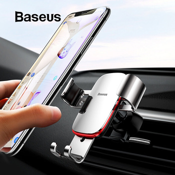 Baseus Universal Car Phone Holder For iPhone X XS Max Samsung Huawei Car Air Vent Mount Holder Metal Gravity Mobile Phone Holder