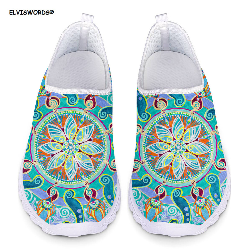 ELVISWORDS Spring Summer Women's Flats Shoes Sneakers Shoes Woman Indian Mandala Floral Women Comfortable Mesh Loafers Girls
