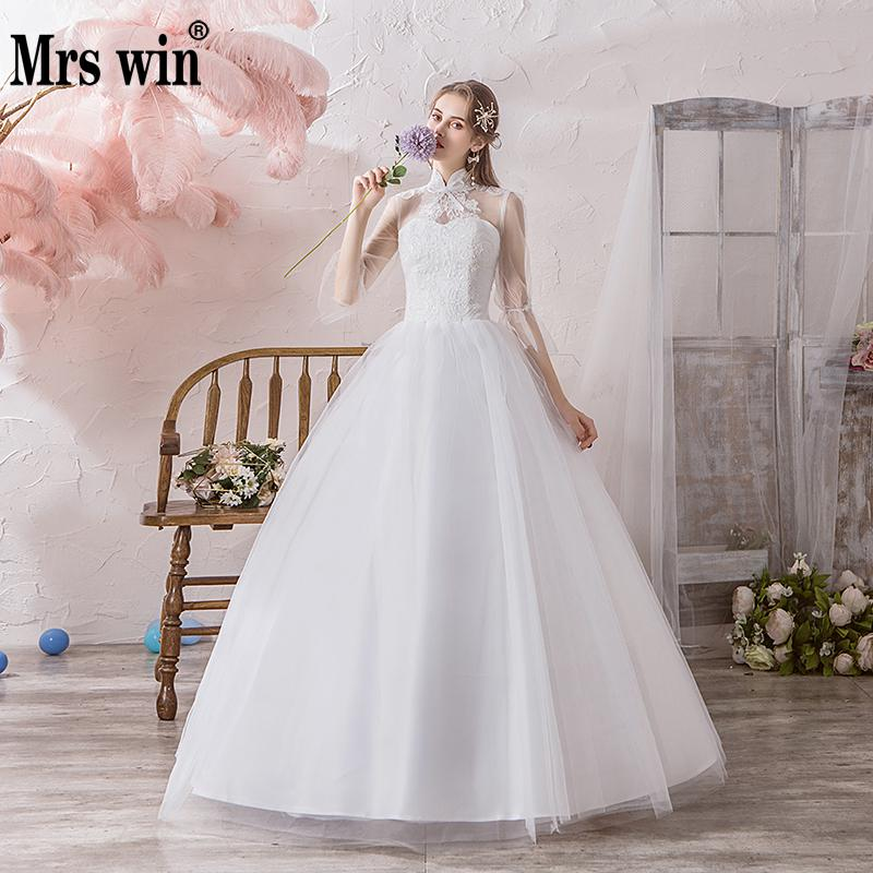 Mrs Win Wedding Dress 2020 The Bridal Full Sleece High Neck Lace Up Ball Gown Princess Vintage Lace Wedding Dresses Hs779
