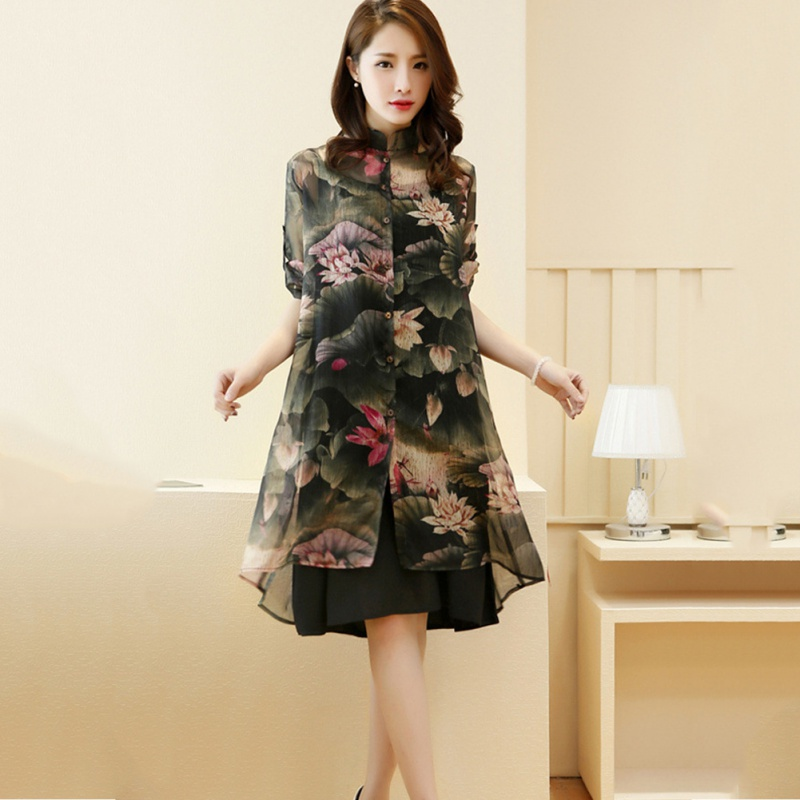 Fashion Women Clothing Sets Women Knee-Length Dress + Print Chiffon Covers Up Suits Hc