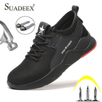 SUADEEX Work Safety Shoes Breathable Men Construction Working Men Safety Steel Toe Shoes Anti-smash Puncture Proof Safety Boots sitaile breathable mesh steel toe safety shoes men s outdoor anti smashing men light puncture proof comfortable work shoes boot