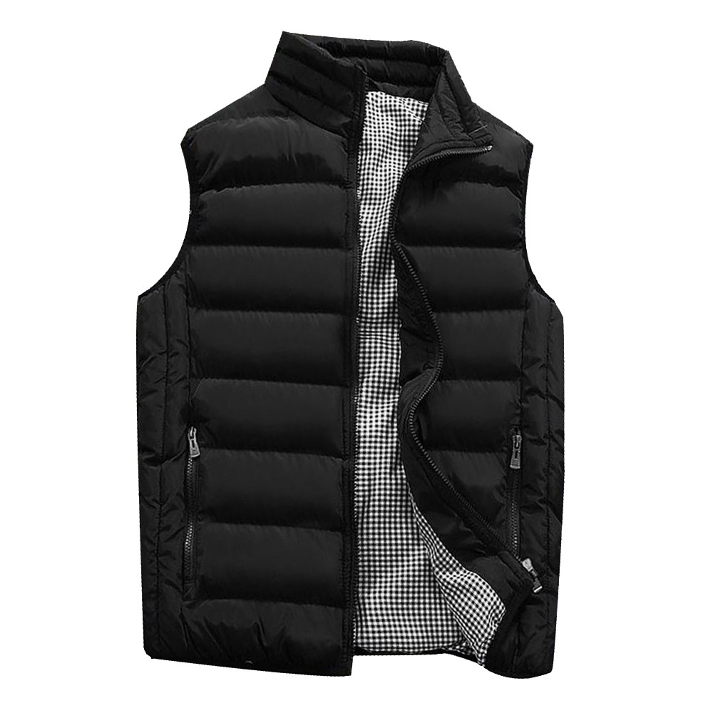 Mens Winter Warm Outdoor Padded Puffer Vest Thick Fleece Lined Sleeveless Jack