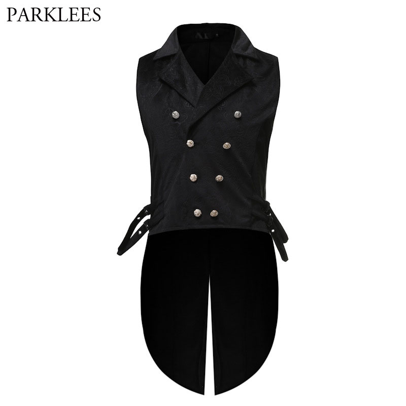 Mens Gothic Tuxedo Vest Victorian Steampunk Cosplay Waistcoat Men Black Double-Breasted Jacquard Coat Vest Halloween Mens Gilet