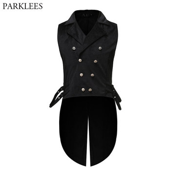 Mens Gothic Tuxedo Vest Victorian Steampunk Cosplay Waistcoat Men Black Double-Breasted Jacquard Coat Halloween Gilet