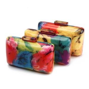Image 5 - 아크릴 클러치 백 여성 이브닝 백 아크릴 가방 다채로운 인쇄 무작위 패턴 여성 숄더 가방 클러치 지갑 ZD1163