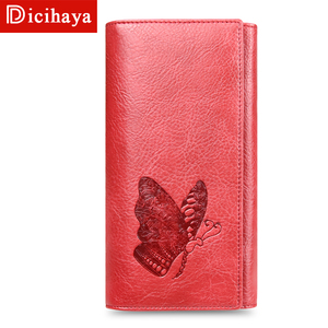 Image 2 - DICIHAYA Women Leather Wallet Long Purse Phone Pouch Butterfly Embossing Wallet Female Coin Purse Card Holders Carteira Feminina