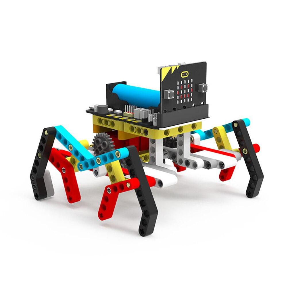 Программа Интеллектуальный робот комплект паровой Программирование Образование Строительный блок паук для микро: бит(нет или в том числе микро: бит доска - Цвет: with Micro bit Board