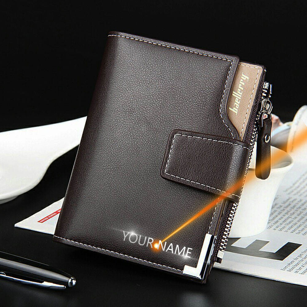 Male Purse Men Wallets Customized Engraving-Card-Holders Short Men Zipper Fashion High-Quality