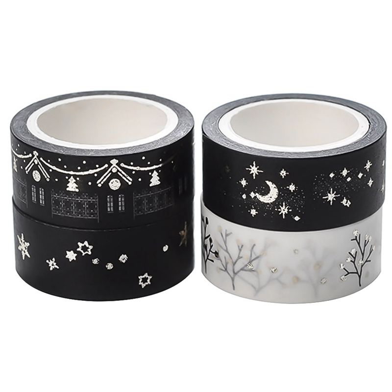 Christmas Gift Gold Foil Tree Star Washi Tape Black & White Masking Tape Japanese 2019 Kawaii Stationery School Supplies Planner