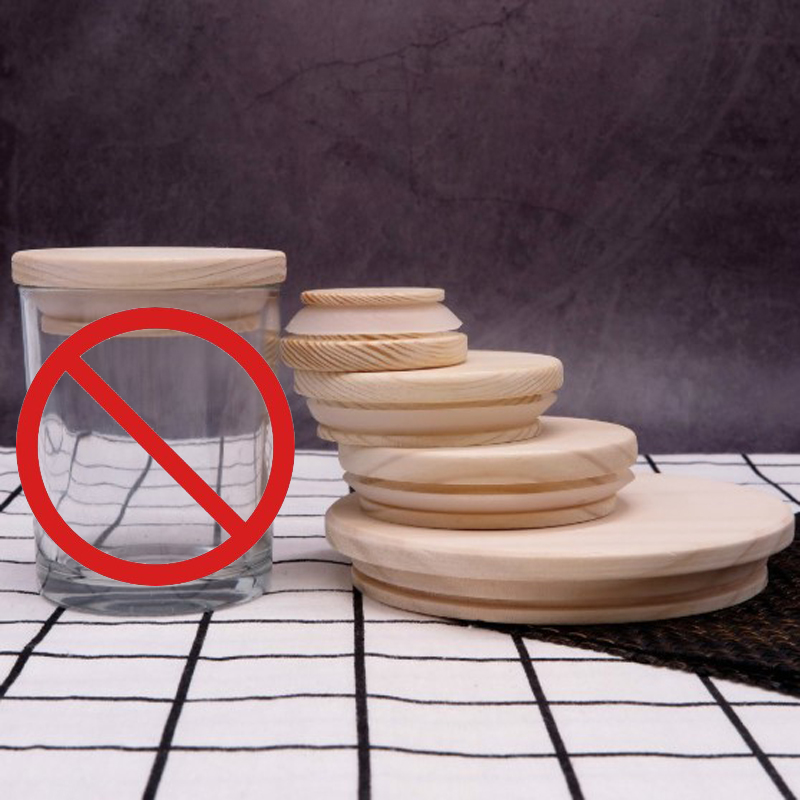 Wooden Jars Lids Silica Gel Circle Seal Up Cover Pine Wood Cover Flower Wood Cover Seal Up Canister Jars Cover Candle Jar