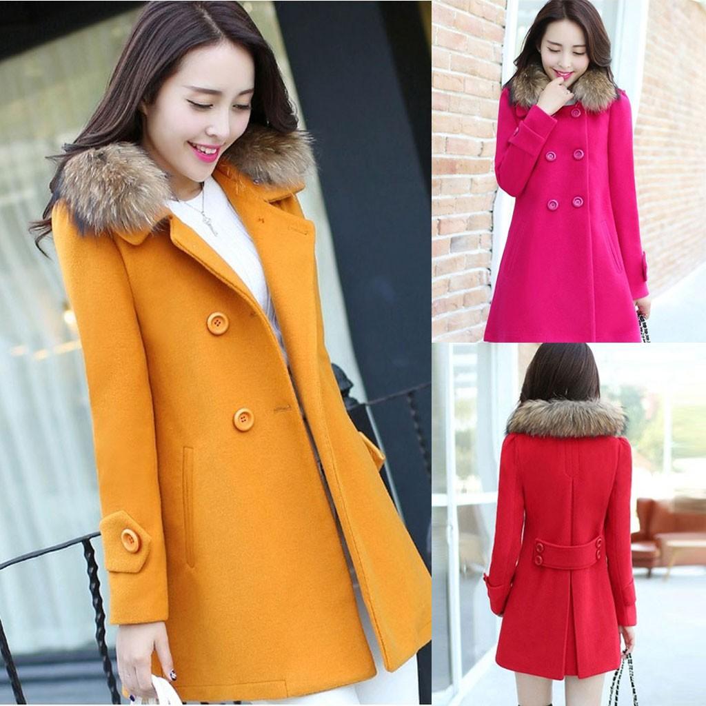 Women Casual Medium And Long Slim Jacket Winter Woolen Thick Coat Ladies jacket best gift warm