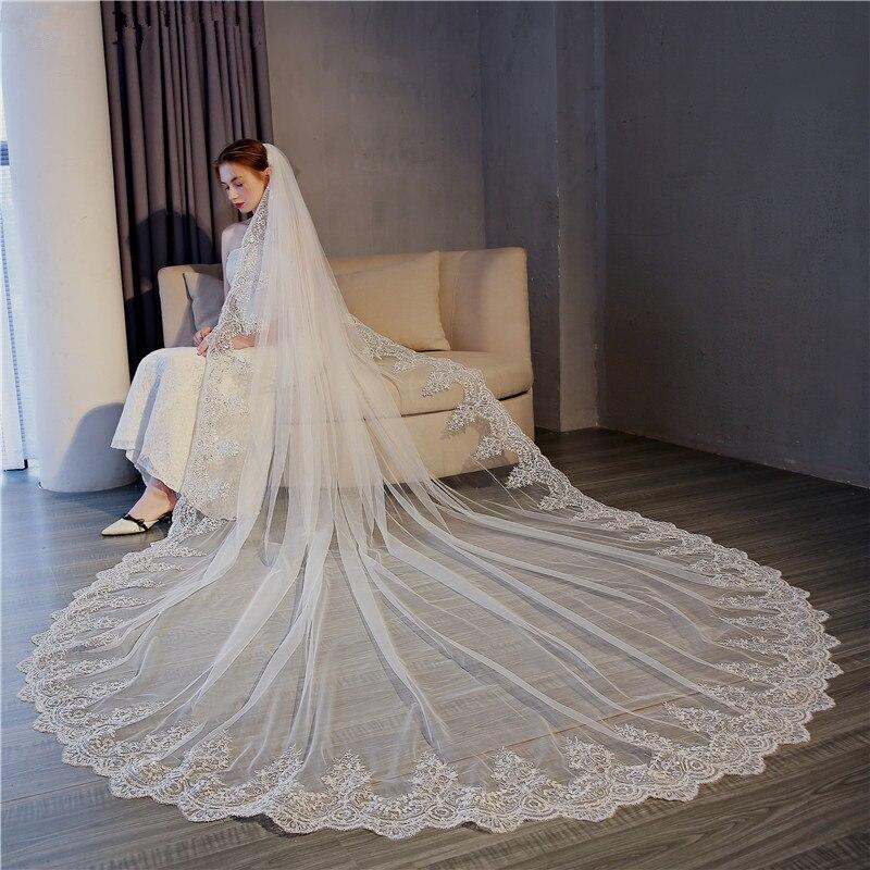 Hot Elegant Voile 3M Veil One Layer Lace Edge Ivory White Cathedral Wedding Veil Long Bridal Veil Veu De Noi Longo
