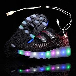 Детские светящиеся кроссовки с двумя колесами, черные, красные, розовые светодиодные роликовые коньки, детская обувь с USB зарядкой для мальч...