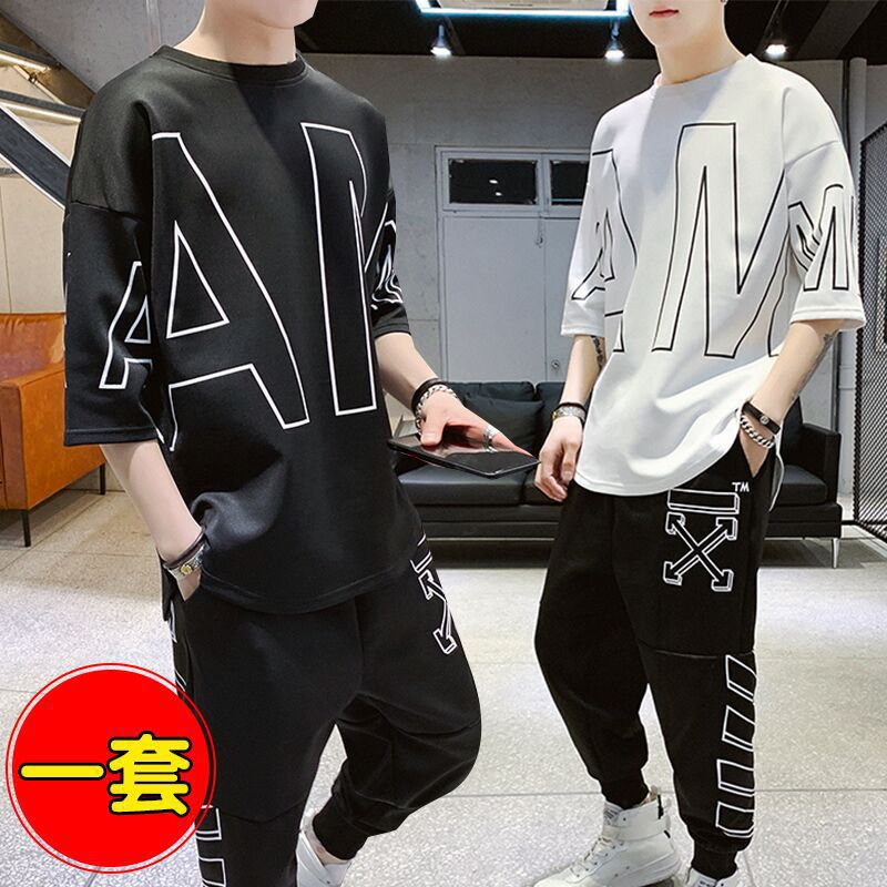 Hong Kong Style MEN'S Sport Suit 2019 Summer Lettered Short Sleeve T-shirt Casual Capri Pants Hip Hop Popular Brand Two-Piece Se
