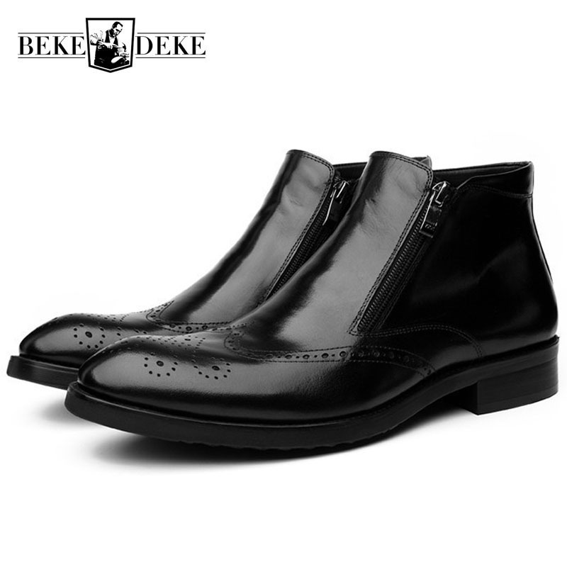 Vintage Brogue Wing Tip Mens Ankle Boots Business Work High Top Real Cow Leather Shoes British Pointed Toe Low Heel Footwear