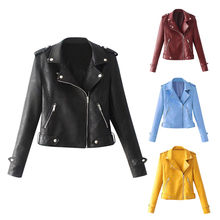 Faux Suede Slim Cool Lady Jassen Vrouwen Dames Revers Motor Jacket Coat Zip Biker Korte Punk Cropped Tops Motorfiets Jas(China)