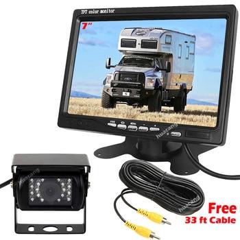 "RVs Pickup Truck Trailer Vans 18 LEDs Rearview Waterproof IR Night Vision Camera + 12V-24V 7"" Monitor Vehicle Reversing System"