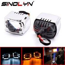 Sinolyn – lentilles de feux de route H1 H7 9005 9006, yeux d'ange pour phares 34W, clignotant, accessoires de voiture