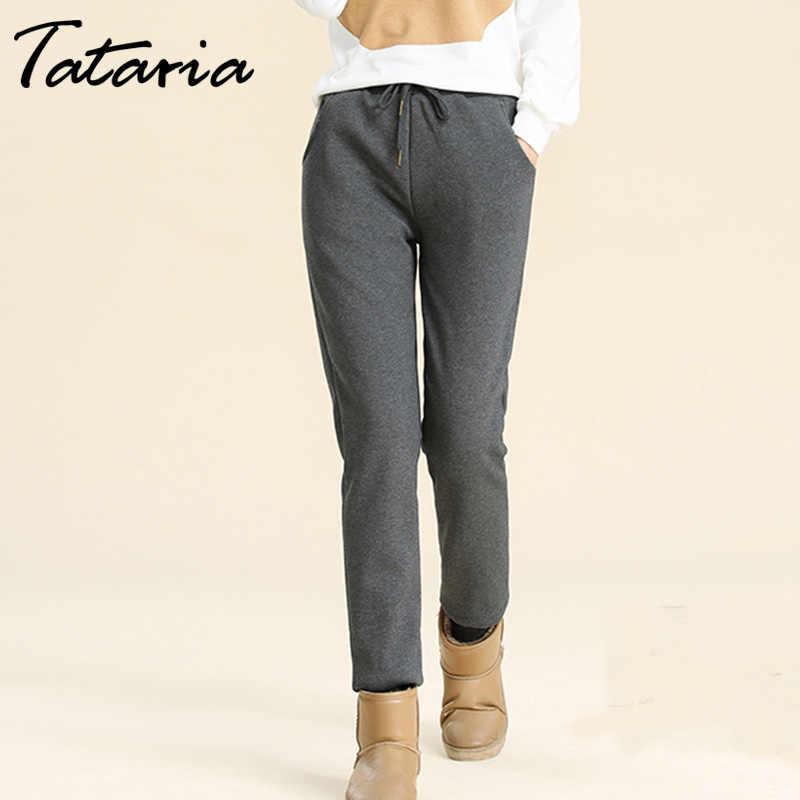 חורף קשמיר הרמון חם מכנסיים נשים של קטיפה עבה מעוור טלה Sweatpant מכנסיים לנשים Loose חורף מכנסיים נשים מכנסיים חמים
