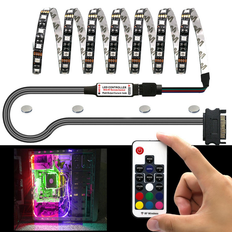 Elisona faixa de luz de led rgb 0.5m, para decoração de caixa de computador, kit de iluminação magnética sem fio com controle remoto potência sata,|Cabos de computador e conectores| - AliExpress